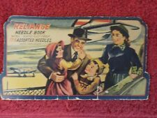 Vintage Re 00000C72 liance Hand Sewing Needle Book Retro Airplane Travel Litho (Jq)