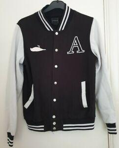 Atticus Varsity Jacket Mens Large Black White Vintage Retro Unisex Clothing Used