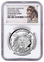 2016 Native Silver Dollar TX Comanche Longhorn 1 oz Silver NGC PF70 UC SKU52751