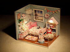 New Dollhouse Miniature DIY Kit with Cover & LED Wood Toy dolls house room Gift