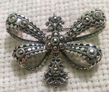 Beautiful Solvar Sterling Silver & Marcasites Butterfly Brooch Pin.