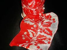"""White Sheer with Red Holly Wired Ribbon Christmas Craft 4"""" x 10 Yards Bow"""