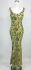 Cache Women's Fitted Sleeveless Long Formal Green Gown Size 4