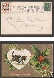 US Sc WX3a, 300 on 1908 embossed Christmas kitten PPC