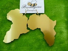 Large Africa laser cut metallic acrylic earrings , African map in gold