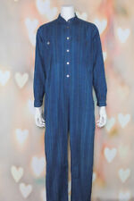 VTG 70s BOHO Rare ADINI Blue PINSTRIPED Cotton INDIA Ethnic Festival JUMPSUIT L