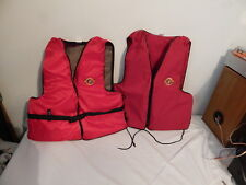 Lot of 2 Vintage Sterns adult life jackets Adult Small Medium Red
