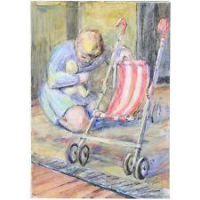 Original signé sans Cadre Milieu du Siècle Mère bébé poussette Aquarelle