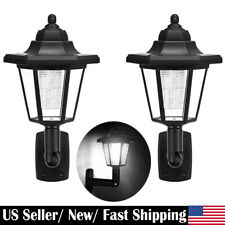 2Pcs LED Solar Wall Light Outdoor Waterproof Garage Yard Fence Night Sensor Lamp