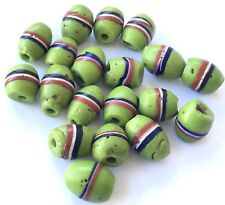 Green Antique Venetian Wound Oval Banded African trade Beads