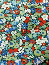 Vintage Liberty Of London Mens 100% Cotton Tie Necktie Red Green Blue Floral