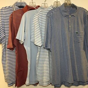 5 - B Draddy Men's Medium Polo Shirt Blue Red Stripe Short Sleeve Golf Bundle