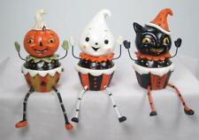 Cupcake Mate Cat Pumpkin Ghost Halloween Shelf Sitters Tabletop Decor Set of 3
