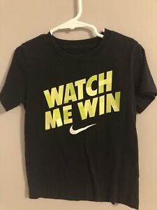 Nike Little Boy's Short Sleeve Graphic Tee, Black, Size M(5-6Y)