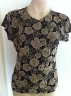 Ladies Black & Beige FRAZIER LAWRENCE Semi Sheer Top Size Large 12-14 Floral