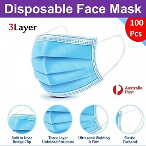 100Pc Disposable Face Mask Protective Masks 3 layer Meltblown Filter General Use