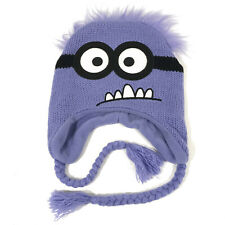 Minions Despicable Me Purple Winter Beanie Knit Hat Kids One Size Ear Flap Hbx12