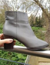 £170 WHISTLES GREY LEATHER ANKLE BOOTS, BLACK MID BLOCK HEEL, SIZE 5, 38