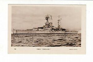 HMS RAMILLIES  ROYAL NAVY BATTLESHIP  Real Photo postcard Abrahams  WW1