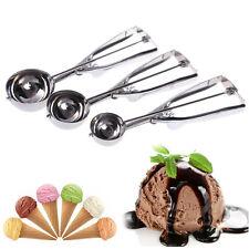 US 3Pcs  Ice Cream Spoon Stainless Steel Spring Handle Masher Cookie Scoop Set Y