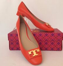 NIB TORY BURCH GIGI PUMP CALF LEATHER SAMBA GOLD LOGO SHOES 9.5 $275