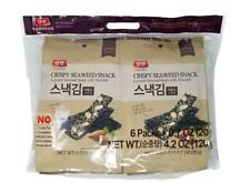 Korean Laver Premium Roasted Crispy Seaweed Almond Snack Bag 6 Packs x 0.7 oz