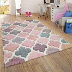 Teppich Wohnzimmer Kinderzimmer Jugendzimmer Pastell, Moderne Muster Rosa Türkis