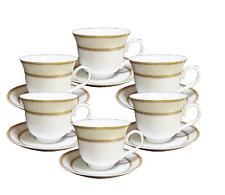 12 Pcs  Gold Wreath Design  Tea Cup/Saucer Set For 6 Persons