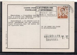 BELGIUM = `CHEF DE GARE` Response Card. Belgian Railways. Parcel Card ?. (D0133)