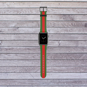 Green and Red Stripe Apple Watch Band