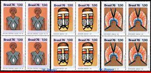 1429-31 BRAZIL 1976 PRESERVATION INDIGENOUS CULTURE, ART, MI# 1525-27, BLOCK MNH