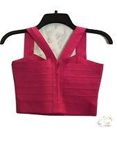 Ladies Crop W/Back Zipper. Hot Pink. Item 1108