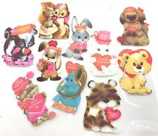 Vintage Hallmark Animal Valentine's Day Cut Outs Cards Scrapbooking Lot Of 10