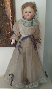 Antique Wax Over Paper Mache Doll, Rare Glass Sleep Eyes, Long Hair, Great Boots