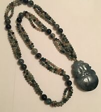 Awesome Beaded Jewelry Necklace - Green Stone / Rocks Pendant Carved