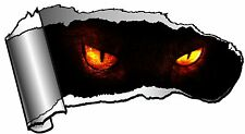 LARGE Ripped Open GASH Rip Torn Metal & Evil Demon Eyes Stare Horror Car Sticker