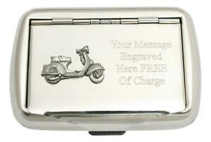 Vespa Scooter Tobacco Tin Stainless Steel Personalised Smokers Gift 384