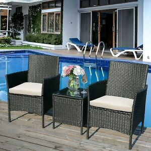 Rattan Garden Set, 2 Chairs and 1 Small Glass Table Set 2 Seater for Patio