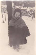1960s RARE Little cute lovely girl in winter clothes old Soviet Russian photo