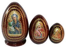 3 EGG SHAPED RUSSIAN NESTING MATRYOSHKA DOLLS/VIRGIN MARY OF JERUSALEM 13 cm