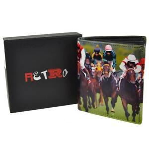 Mens Leather Tri-Fold Horse Racing Wallet by Retro Gift Box Grand National