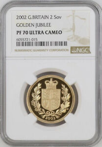 2002 Gold Proof Double Sovereign - Golden Jubilee - NGC PF70 Ultra Cameo