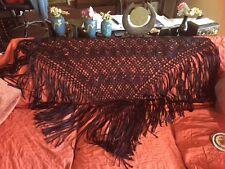 "Vintage 1920s Brown Rayon Ribbon Hand Crochet Piano Shawl w Fringe 55"" Wide"