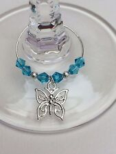 20 Aqua/Teal crystal with Butterfly wine glass charms. Wedding,Favours,Party,Hen