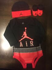 NEW AIR JORDAN Baby Boy's 3 Piece Set: Long Sleeve Bodysuit, Booties, Cap, 0-6 M