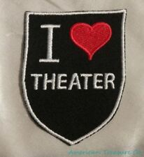 Embroidered Retro Vintage Style I Love Theater Geek Broadway Patch Iron On USA