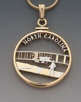 "+North Carolina U.S. State Coin Pendant Necklace. Hand cut - 7/8"" diameter"