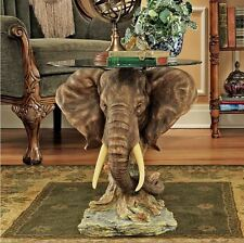 Elephant Coffee Table Accent Glass Top Unique Artistic Sculpture Living Room End