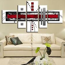 Abstract Wall Art White Red Modern Canvas Print Painting Home Decor 5 PCS