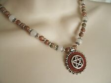 Jasper Pentacle Necklace, wiccan pagan wicca witch witchcraft pentagram magic